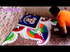 Diwali Special Rangoli Design, Easy Rangoli Designs Diwali, Rangoli Designs Latest, Simple Rangoli Designs Images, Rangoli Designs Flower, Small Rangoli Design, Rangoli Border Designs, Rangoli Ideas, Colorful Rangoli Designs