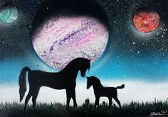 Spray art, Mother and foal