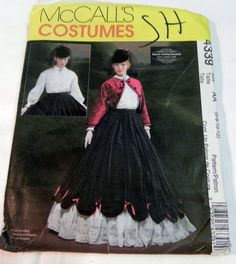 1800s Civil War Era Skirt, Petticoat, Blouse and Bolero Jacket Reenactment Halloween Costume sewing pattern McCalls 4339 Size 6 8 10 12 FF