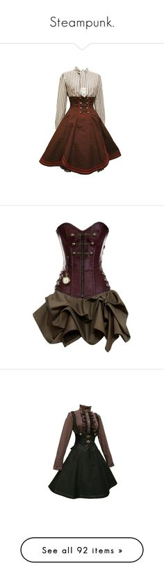 """Steampunk."" by waywardandwindy ❤ liked on Polyvore featuring fantasy, victorian, steampunk, fashionset, dresses, costume, short dresses, vestidos, mini dress and steampunk dress"