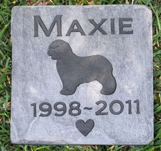 Old English Sheepdog Memorial Stone Grave Markers Old English Sheepdog Memory Stone 6 x 6 Inch Memorial Pet Stone Grave Tombstone Marker