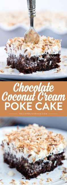 This Chocolate Coconut Cream Poke Cake is a triple threat - with a layer of rich chocolate cake, a layer of thick coconut cream and topped with a layer of creamy icing and toasted coconut. This dessert wins the day, any day!