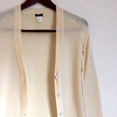 J. Crew Cream Cartigan Great and versatile J. Crew cardigan. V-neck collar, white buttons. Very light and comfortable merino wool fabric! 100% Merino wool. J. Crew Sweaters Cardigans