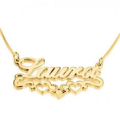 Collar con Nombre sobre Corazones en plata chapada en Oro de 24K y Swarovski