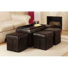 Convenience Concepts Manhattan Wood Storage Bench with 4 Ottomans and Wood Serving Tray - Espresso - $103.99