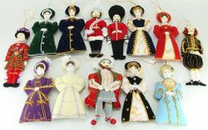 King Henry VIII, 6 Wives & 7 British Historical Figures Soft Christmas Ornaments
