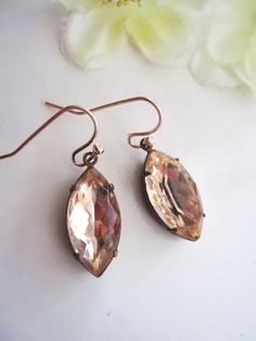Blush Peach Rose Gold Earrings Champgne Pink by Redpeonycreations