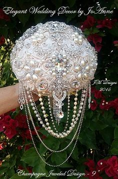 CHAMPAGNE JEWELED BOUQUET Deposit Only for by Elegantweddingdecor