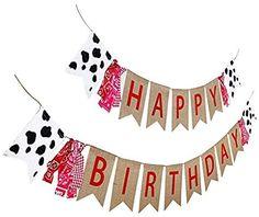 Happy Birthday Cow, Cow Birthday Parties, Farm Birthday, Birthday Ideas, Burlap Birthday Banners, 40th Birthday Decorations, Farm Themed Party, Farm Party, Cow Print Fabric
