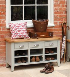 Hallway, hall, painted furniture, shoe storage, umbrellas, cushion, hat box, boots, The Cotswold Company, Country Living