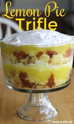 Lemon Pie Trifle from Served Up With Love is a super easy dessert to whip up for any gathering that will wow your guests. Lemon Pie Trifle from Served Up With Love is a super easy dessert to whip up for any gathering that will wow your guests. Trifle Bowl Recipes, Lemon Dessert Recipes, Easy Appetizer Recipes, Lemon Recipes, Easy Recipes, Easy Lemon Desserts, Chef Recipes, Easy Trifle Recipe, Triffle Recipe