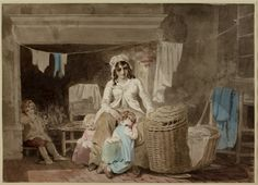 Cottage Interior with a Young Mother and Her Children, Francis Wheatley, 18th c. Watercolor with pencil and pen and gray ink.