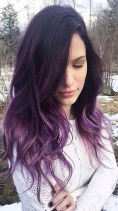 Ombre Hair and Purple Ombre Surely you have noticed how popular purple ombre can be. And today we will talk about what shades of hair purple ombre combine. We will also discuss how to create a purp… Hair Color Purple, Cool Hair Color, Brown Hair Colors, Ombre Colour, Black To Purple Hair, Purple Hair Tips, Burgundy Hair, Dark Violet Hair, Violet Ombre