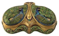 Amazon.com - Intricately Art Nouveau Peacock Jewelry Box with Gold Color Trim -