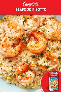 Equally impressive at a dinner party or the family table. Fish Recipes, Seafood Recipes, Dinner Recipes, Cooking Recipes, Healthy Recipes, Campbells Recipes, Seafood Risotto, Shrimp Dishes, Deserts