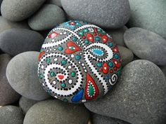 Pretty painted rock-paint rocks with BSU colors for outside decorations?