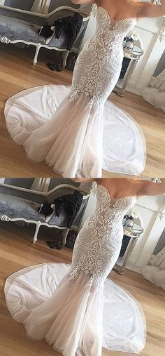 unique lace mermaid wedding dresses, elegant sweetheart wedding dresses with beading, rustic bridal gowns with lace