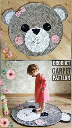 Crochet Rug Pattern - Carpet Teddy Bear - Crochet Teddy Bear- Crochet Bear Pattern - Handmade Rug - tatyanababytoys - crochet toys and patterns Crochet Mat, Crochet Carpet, Crochet Home, Crochet Crafts, Crochet Projects, Crochet Teddy Bear Pattern, Crochet Patterns Amigurumi, Knitting Patterns, Confection Au Crochet