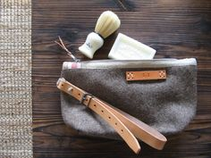 Unique Wool Toiletry Bag. Handmade from Vintage Swiss Army  Wool Blankets. Grey Taupe  Industrial Retro Design leather strap