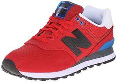 New Balance Men's ML574 Acrylic Pack Classic Running Shoe, Red/Blue, 7.5 D US