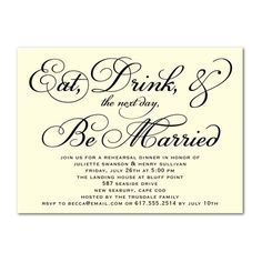 Eat Drink The Next Day Be Married Wedding Rehearsal Dinner Invitations