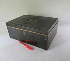 Cash Box Vintage Metal Money Storage Ticket Selling by HobbitHouse