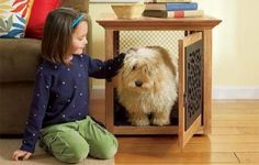 This functional dog crate keeps Fido at bay—and makes a great end table too