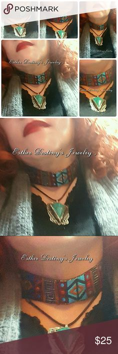 Bohemian Aztez Embroidery Blue and Red Choker This embroidery Aztec Pattern Ribbon is a perfect Bohemian Choker for that Hippie style.  More to come! Jewelry Necklaces