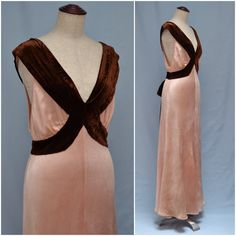Vintage dress,  1930s evening dress, full length gown, Pretty pink with brown silk velvet neckline, bias cut  cocktail dress, Art Deco / 30s