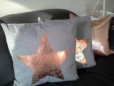 Kissen - Kissen grau, Stern kupfer, 45x45 cm, mit Füllung - ein Designerstück von primaliese bei DaWanda