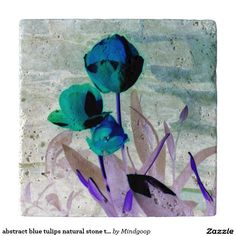 abstract blue tulips natural stone trivet