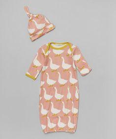 Rose Goose Gown & Hat Organic Set
