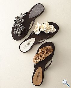 You can glue flower on your flip flops
