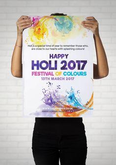 HOLI 2017 - Large print out poster for Holi 2017 Festival of Colours to wish everyone a Happy Holi 2017. #Holi #festivalofcolours #colours #advertising #festivals