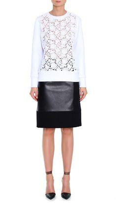 Tibi Sigrid lace sweatshirt - $425. Neoprene sweatshirt with cotton lace front panel. Unlined. 96% Polyester, 4% elastane, 100% Cotton Lace.