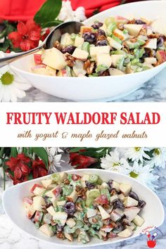 This easy to make fruity Waldorf Salad is the perfect side salad for a summer dinner, BBQs or as a light lunch. It's chock full of apples, grapes, cherries and celery and, to keep it on the healthy side, tossed with Greek style yogurt. And for a little extra crunchy sweetness there's a handful of maple glazed walnuts mixed in. Summer never tasted better! #salad #waldorfsalad #healthy #glutenfree #lunch #sidedish #apples #grapes #yogurtdressing via @2CookinMamas