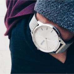Uniform Wares C40 polished steel watch with Milanese mesh bracelet courtesy of Matoum