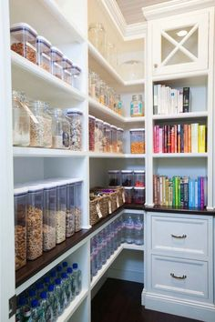 Walk In Pantry Design : Sweet transitional kitchen pantry walk in kitchen is kitchen pantry with white shelving with rustic wood flooring with rustic hard wood floor with walk in kitchen pantry. White sliding barn door kitchen decoratively kitchen walk i Kitchen Organization Pantry, Pantry Storage, Kitchen Pantry, New Kitchen, Kitchen Storage, Home Organization, Organized Kitchen, Food Storage, Organizing Ideas
