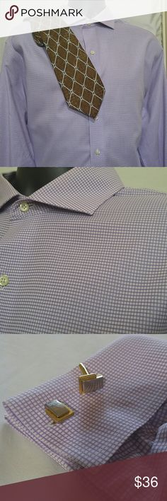 BROOKS BROTHERS French Cuff Shirt Size 17 1/2 -35 Exquisite BROOKS BROTHERS men's  Non - Iron French shirt.  This is a checked shirt in lavender.  The size is 17 1/2 - 35.  This BROOKS BROTHERS dress french cuff shirt is in excellent condition. BROOKS BROTHERS Tops Button Down Shirts