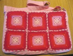 my pink bag, crochet by me and sewing by my mom! My Mom, Macrame, Blanket, Sewing, Knitting, Crochet, Pink, Bags, Breien