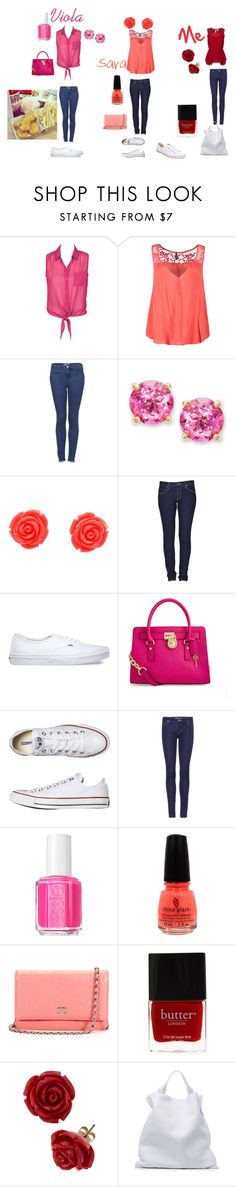 """""""Mc Donald with Sara and Viola"""" by cavallaro ❤ liked on Polyvore featuring Naf Naf, Topshop, Victoria Townsend, Cheap Monday, Vans, MICHAEL Michael Kors, Converse, Essie, China Glaze and Chanel"""