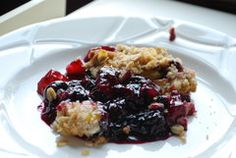 Blueberry and peach crisp recipe from Michigan Ag Council