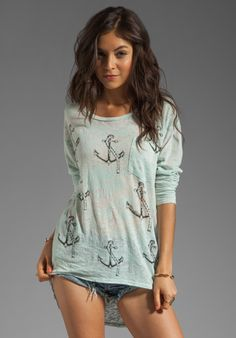 LAUREN MOSHI Bayle Mini Anchors Burnout Pocket Tee in Crystal Blue at Revolve Clothing - Free Shipping!