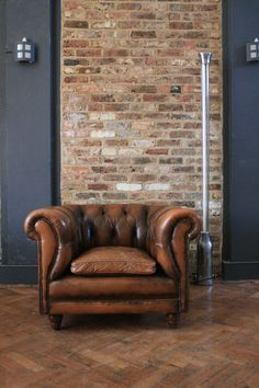 A Chair Of One's Own. Brown Leather Chesterfield by TheRetroStationUK on Etsy, Leather Furniture, Home Furniture, Plywood Furniture, Furniture Stores, Furniture Design, Estilo Industrial Chic, Cuir Chesterfield, Chesterfield Living Room, Zigarren Lounges