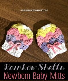 Rainbow Shells Newborn Baby Mitts Oombawka Design Crochet Free Pattern. Also hat to match!
