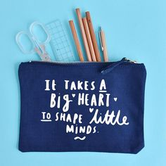 It Takes A Big Heart To Shape Little Minds Pencil Case - Thank You Teacher - Teacher Gift - Teacher Appreciation Gift - End of Year Gift Teacher Appreciation Gifts, Teacher Gifts, End Of Year, Coin Purse, Take That, Mindfulness, Shapes, Unique Jewelry, Handmade Gifts
