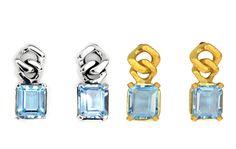 Para post Barbados pendientes aretes zarcillos earrings plata silver gold plated bañada en oro topacio azul blue topaz
