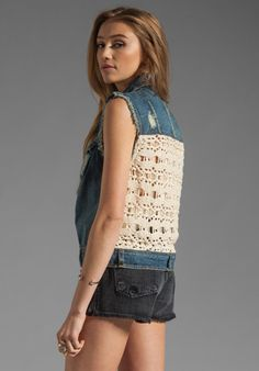 WOVEN LINEN CRCHET FREE PEOPLE Macrame Cargo Vest in Moody Blue Combo at Revolve Clothing - Free Shipping!
