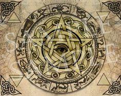 Digital Graphic Wiccan Elemente Pentagram in Sacred Circle