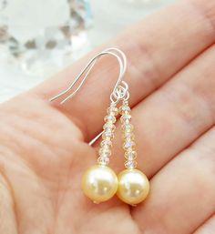 Champagne Crystal Earrings Swarovski Light Gold Pearl &